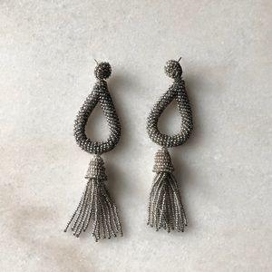 Anthropologie silver beaded tassel earrings!